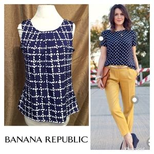 Adorable Sleeveless navy blue & cream top